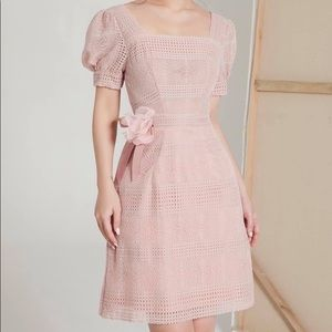 Pink Lace Puff Sleeves Dress